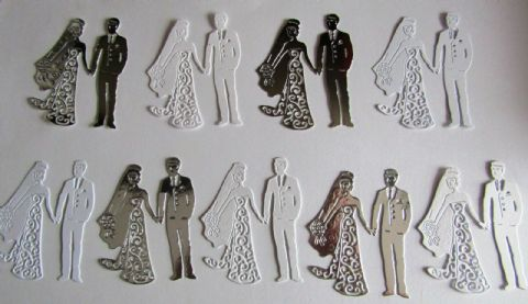9 X BEAUTIFUL WEDDING BRIDE AND GROOM DIE CUTS IN SILVER & WHITE